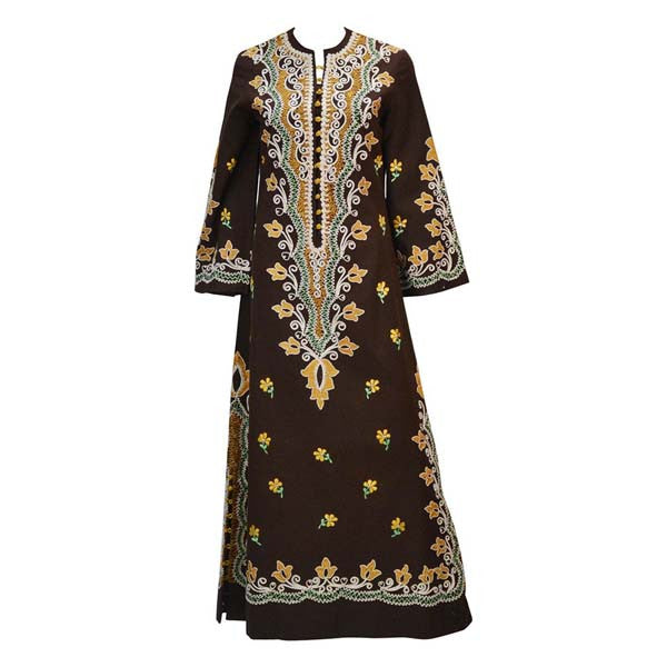 1970s Chestnut Brown Embroidered Kaftan