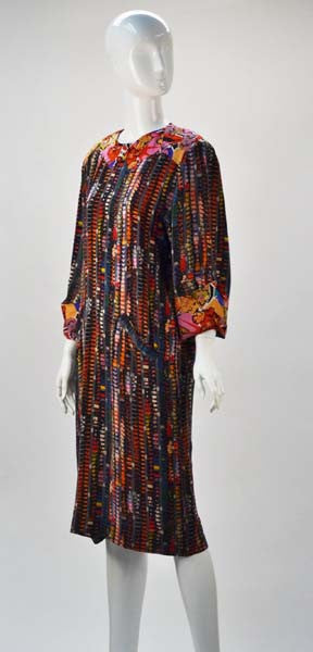 1980s Fendi Silk Multi Color Shift Dress