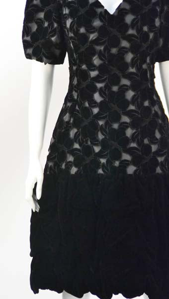 1990s Scaasi Black Laser Cut Floral Print Cocktail Dress