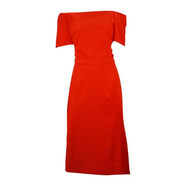 1980s Scaasi Classic Red Off Shoulder Day to Night Dress