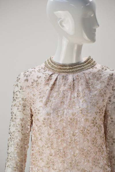1960s Valentina Lace Beaded Cocktail Dress