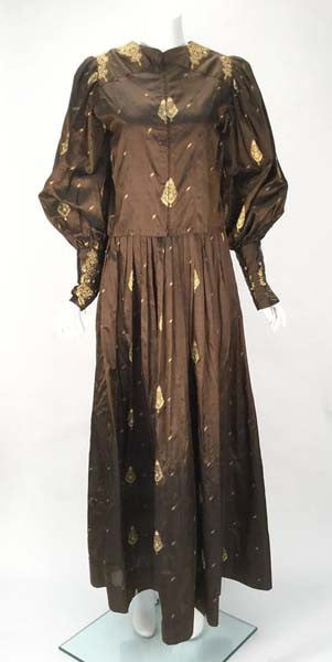 1970s Custom Coffee Brown Silk and Gold Leaf Motif Ensemble