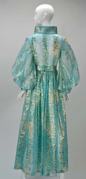 1970s Sheer Light Blue and Gold Metallic Hostess Gown