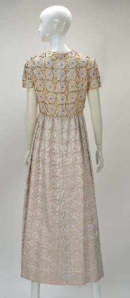 1960s Gino Charles Metallic Gold Brocade Sequin Evening Dress