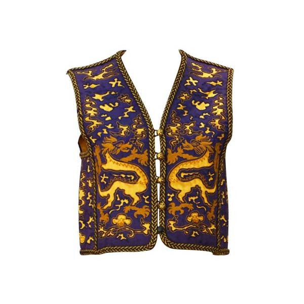 1960s Saint Laurent Rive Gauche Dragon Print Vest