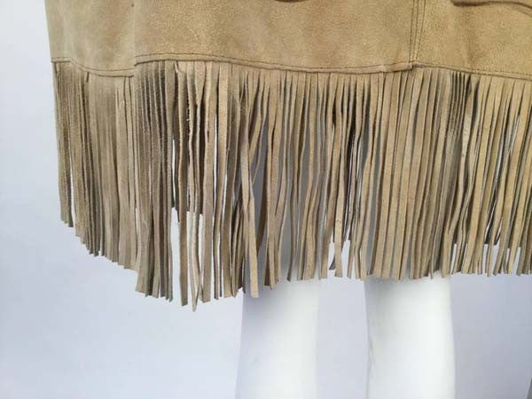 1970s Hand Drawn Suede Mexican Poncho