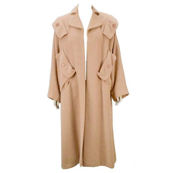 1940s Gilbert Adrian Blush Pink Wool Coat