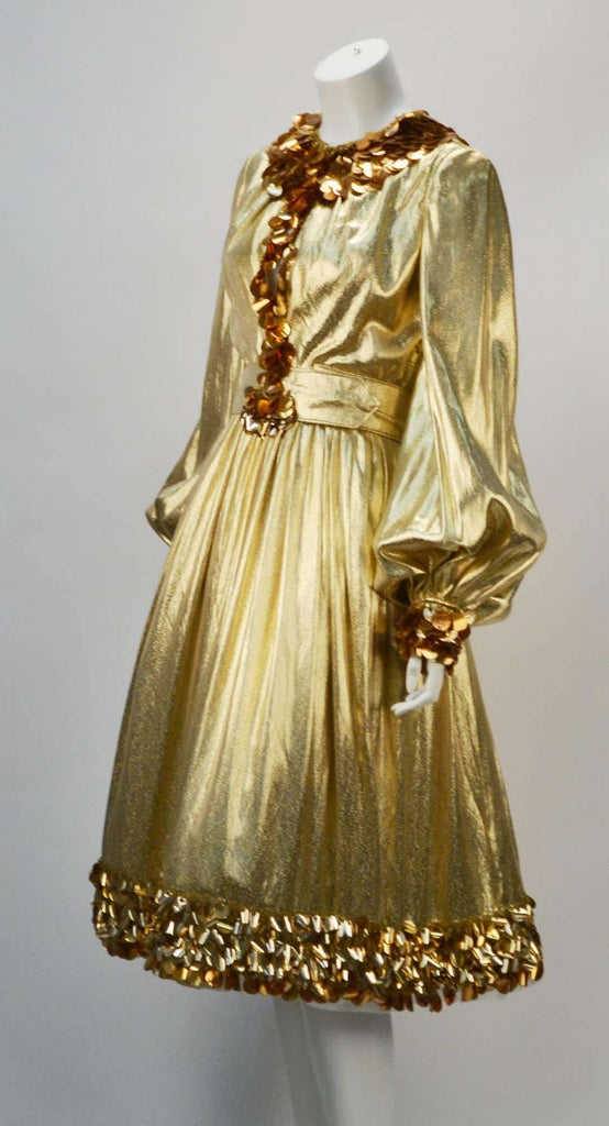 1960s Donald Brooks Gold Metallic Evening Dress with Sequin and Beaded Trim