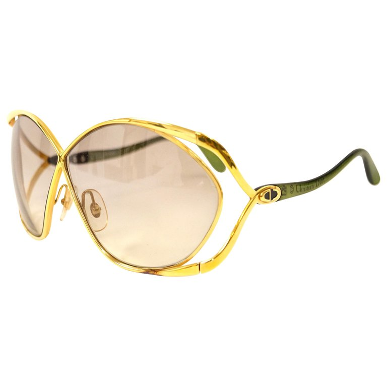 d451c0c56173a 1980s Christian Dior Signature Apple Green Butterfly Sunglasses Model 2056
