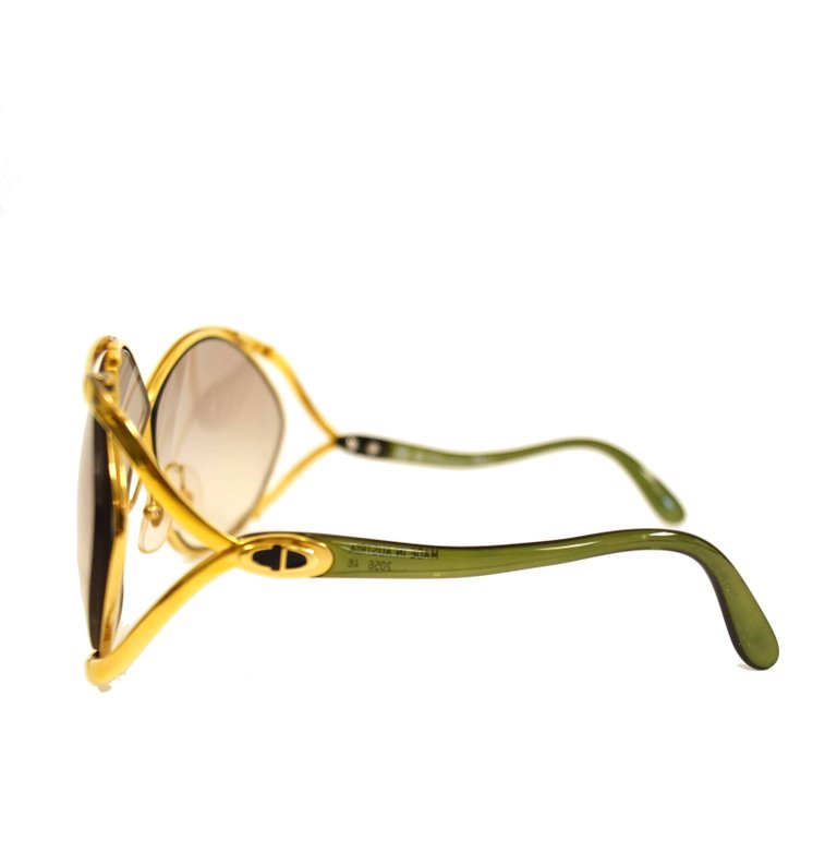 1980s Christian Dior Signature Apple Green Butterfly Sunglasses Model 2056