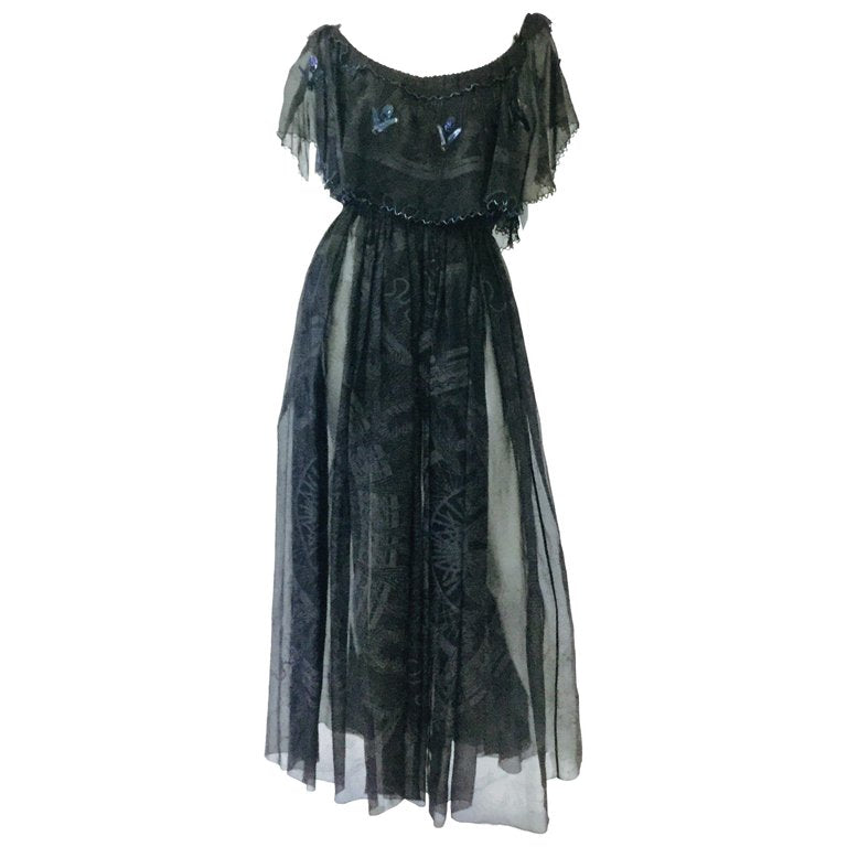 1970s Zandra Rhodes Hand Painted Black Silk Dress