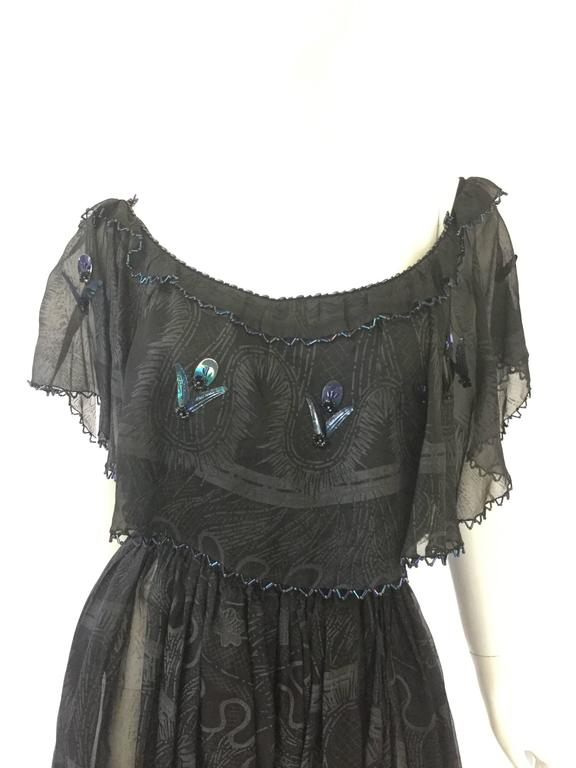 c9c9d48a9443a 1970s Zandra Rhodes Hand Painted Black Silk Dress - MRS Couture