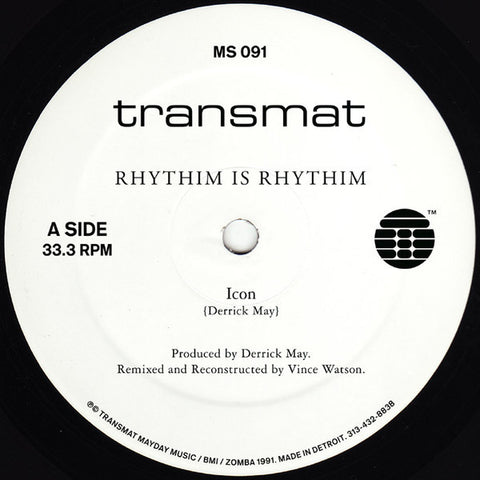 Rhythim Is Rhythim ‎– Icon / Kao-Tic Harmony (Vince Watson Reconstructions) (MS‎091)