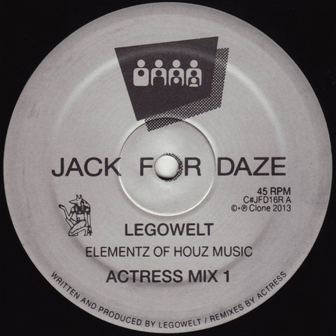 Legowelt ‎– Elementz Of Houz Music (Actress Rmxs) (Clone Jack For Daze 16R)