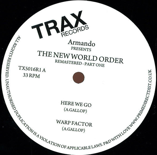 Armando ‎– The New World Order (Part One) (Trax records)