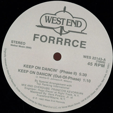 "Forrrce ‎– Keep On Dancin' 12"" (West End Records)"