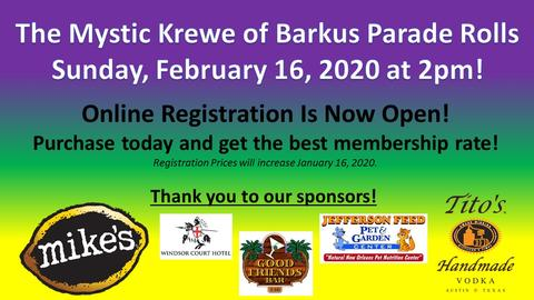 Krewe of Barkus Parade Registration