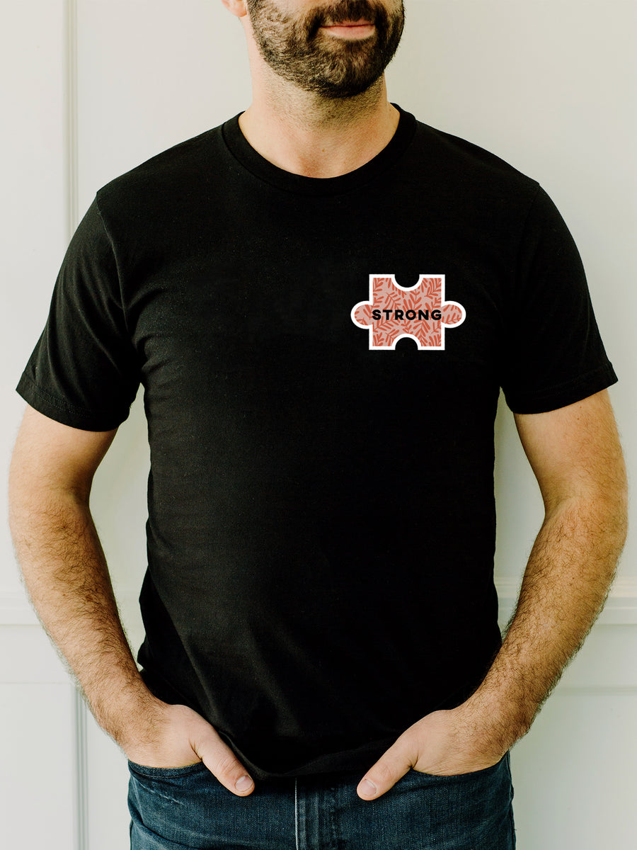 The Power of Words - Men's Tee - Puzzle Pieces - STRONG