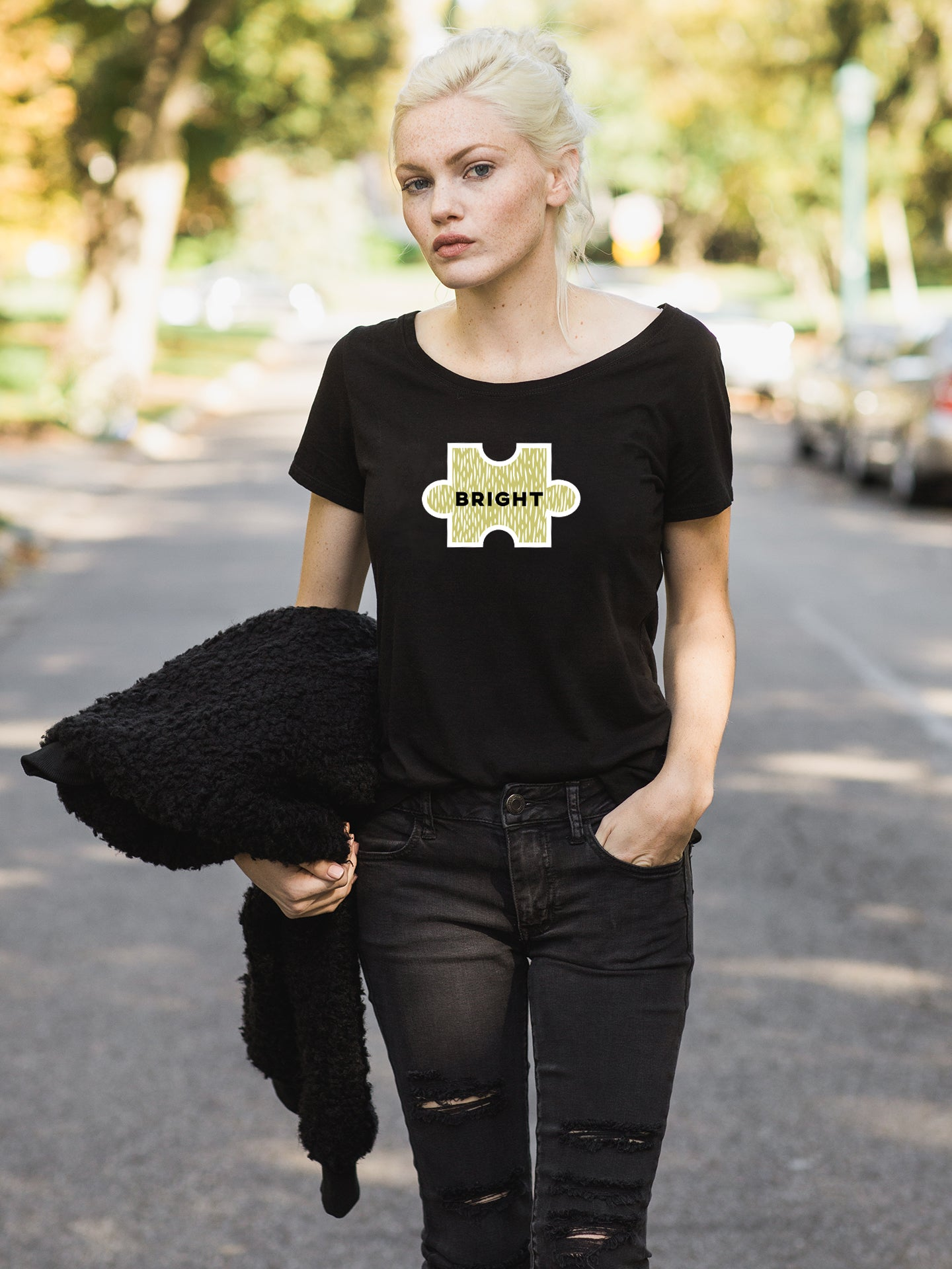 The Power of Words - Women's Tee - Puzzle Pieces- BRIGHT