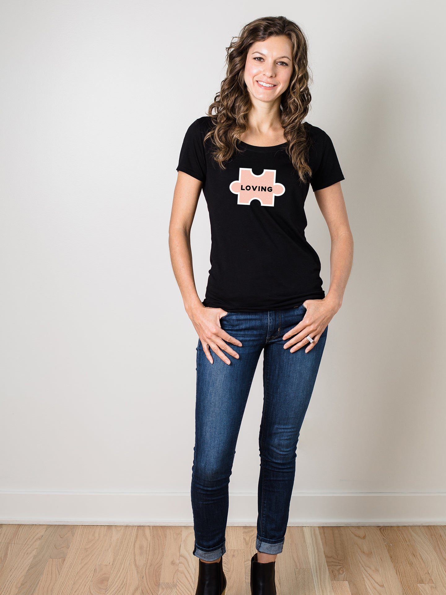 The Power of Words - Women's Tee - Puzzle Pieces - LOVING