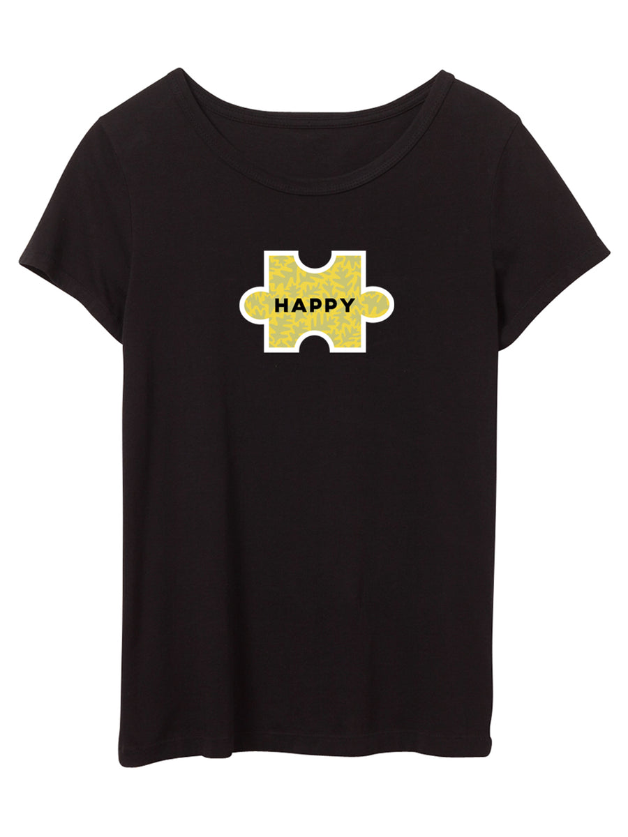 The Power of Words - Women's Tee - Puzzle Pieces- HAPPY