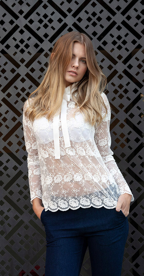 Elsa Rips/Lace Top