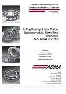 ABMA 25.2:1991 (S2010) Rolling Bearings, Linear Motion Recirculating Ball, Sleeve Type - Inch Series