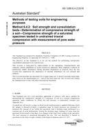 AS 1289.6.4.2:2016 Methods of testing soils for engineering purposes - Soil strength and consolidation tests - Determination of compressive strength of a soil - Compressive strength of a saturated specimen tested in undrained triaxial compression with mea