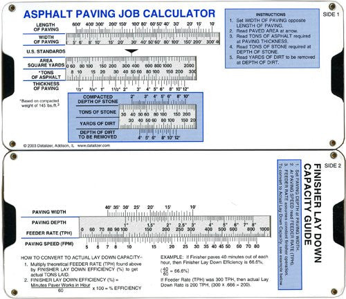 Asphalt Paving Job Calculator Slide Rule
