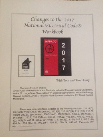 Changes to the 2017 National Electrical Code® Workbook by Tom Henry
