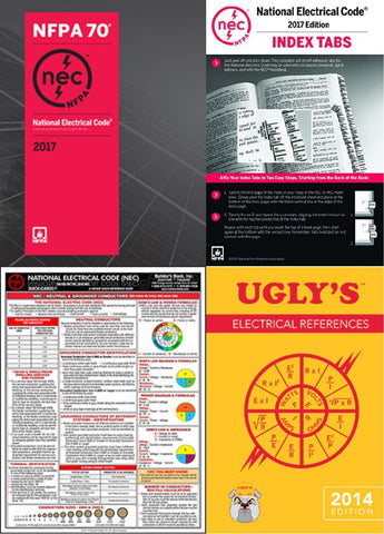 NFPA 70: NEC Paperback with Index Tab by NFPA, 2017 Editions and NEC Quick Card with Ugly's Electrical References 2017 Editions