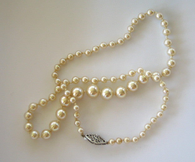Faux Graduated Pearls with Filigree Floral 10K White Gold and White Sapphire Clasp