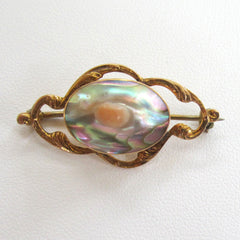 10K Yellow Gold Art Nouveau Blister Pearl Brooch/Pin