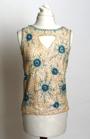 Circa 1960s Hong-Kong Wool Sequin and Beaded Cream and Blue Shell Sweater