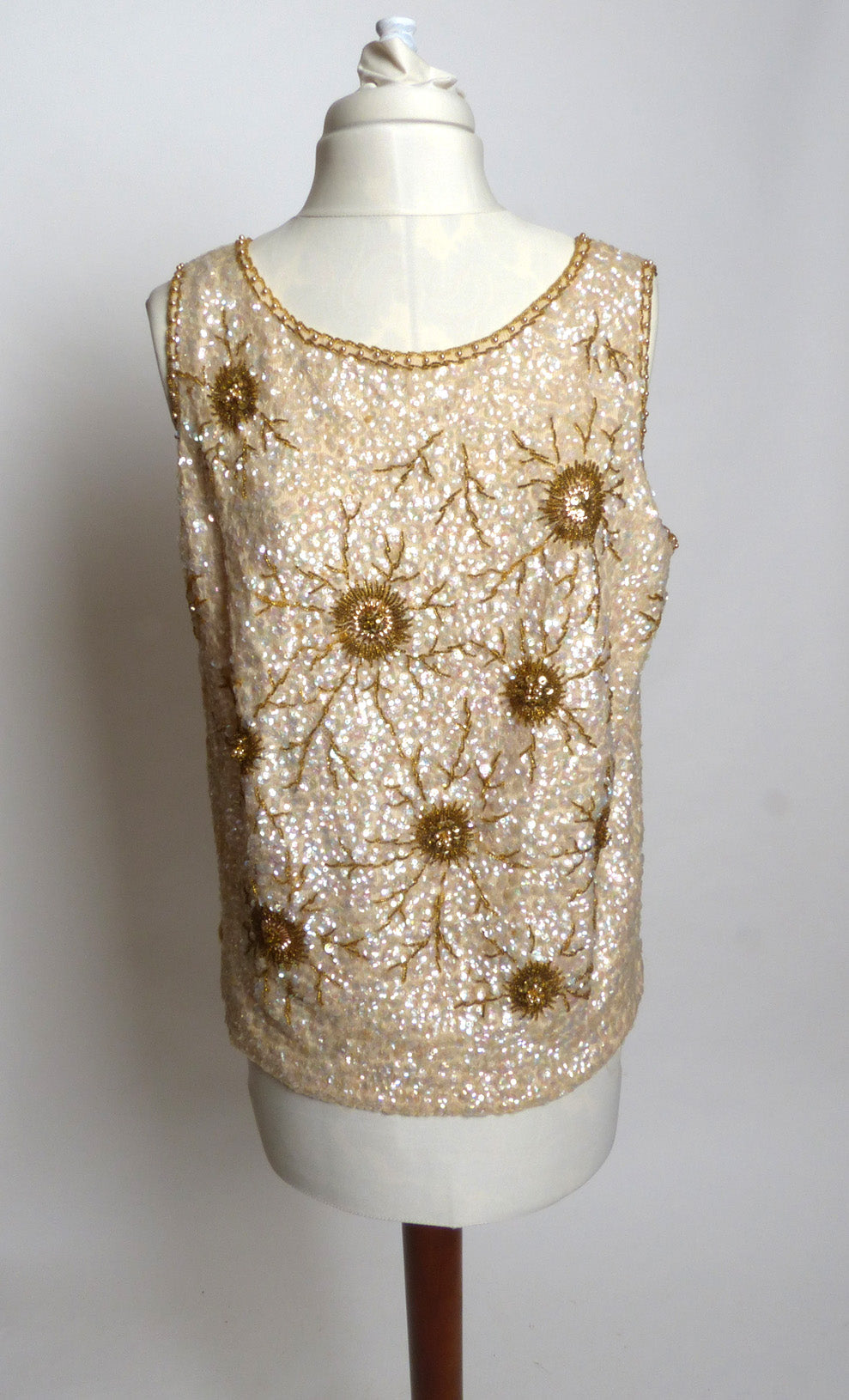 Circa 1960s Cream and Bronze Beaded And Sequinned Shell Sweater