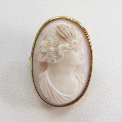 14K Yellow Gold Coral Cameo Brooch/Pin