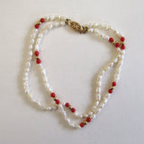 14K Double-Strand Freshwater Rice Pearl and Coral Bracelet
