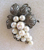 Circa 1950s Sterling Silver and Cultured Pearl Grapes Brooch/Pin