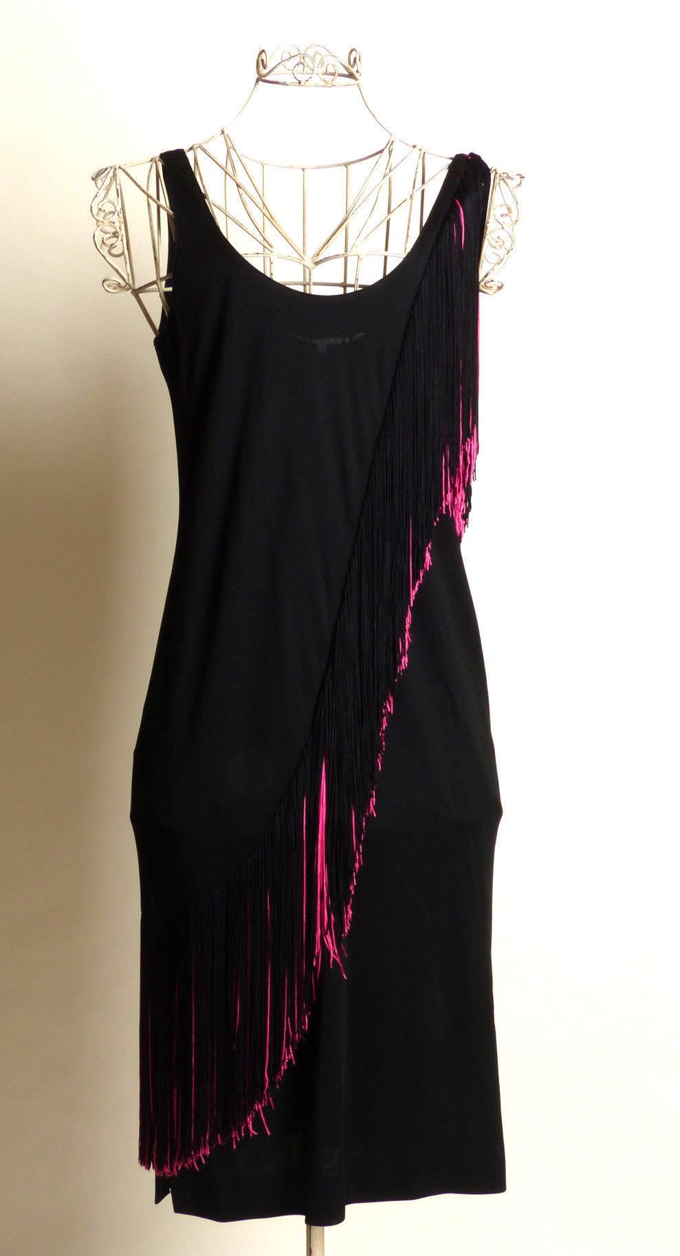 Circa 1970s/1980s Lilli Diamond of California Black and Pink Fringed Dress