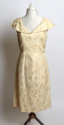 Late 1950s/Early 1960s Lilli Diamond of California Cream Ivory Silk Brocade Dress