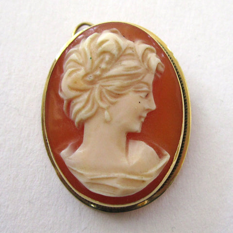 18K Yellow Gold Estate Shell Cameo Brooch/Pin/Pendant
