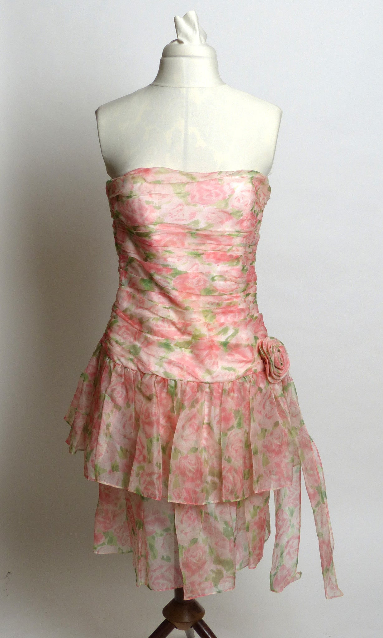 Circa 1980s Maggy London by Jeannene Booher Pink Silk Floral Dress