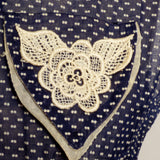 Circa 1950s Navy Blue & White Polka Dot Swiss Day Dress