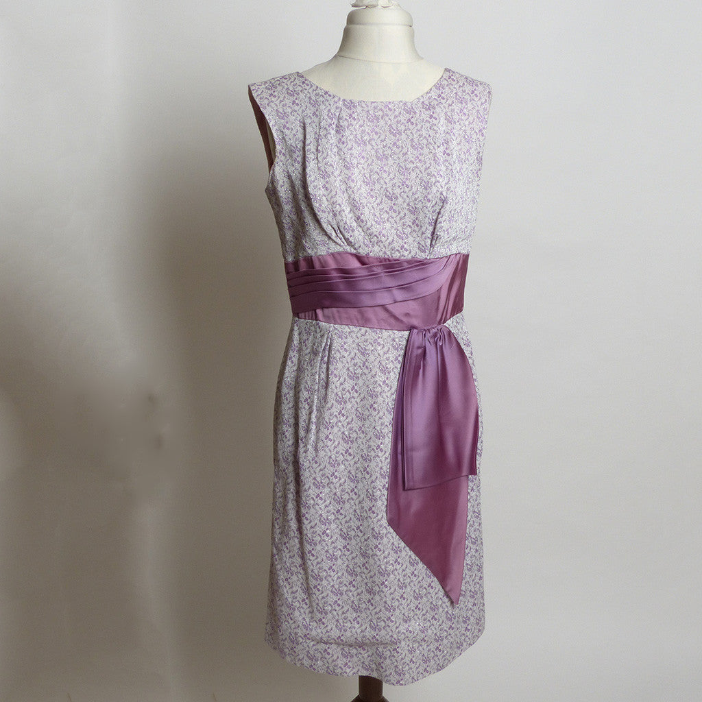 Circa 1950s Lavender and Cream Knit Floral Brocade Dress with Silver Accents