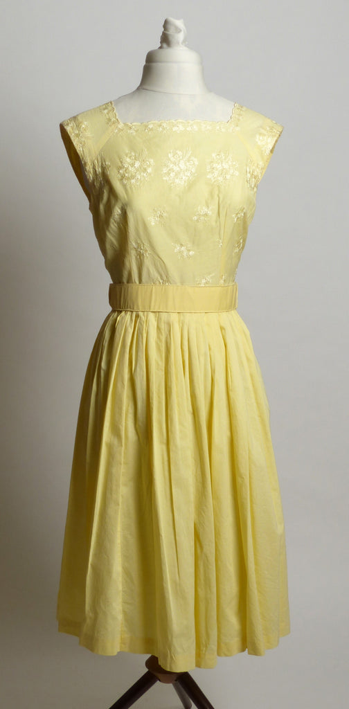 Circa 1960s Yellow Cotton Embroidered Sundress