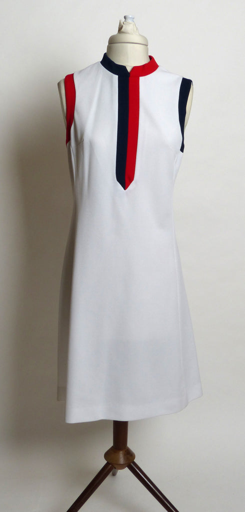 Circa 1960s Verona Red, White and Blue Knit Tennis Dress