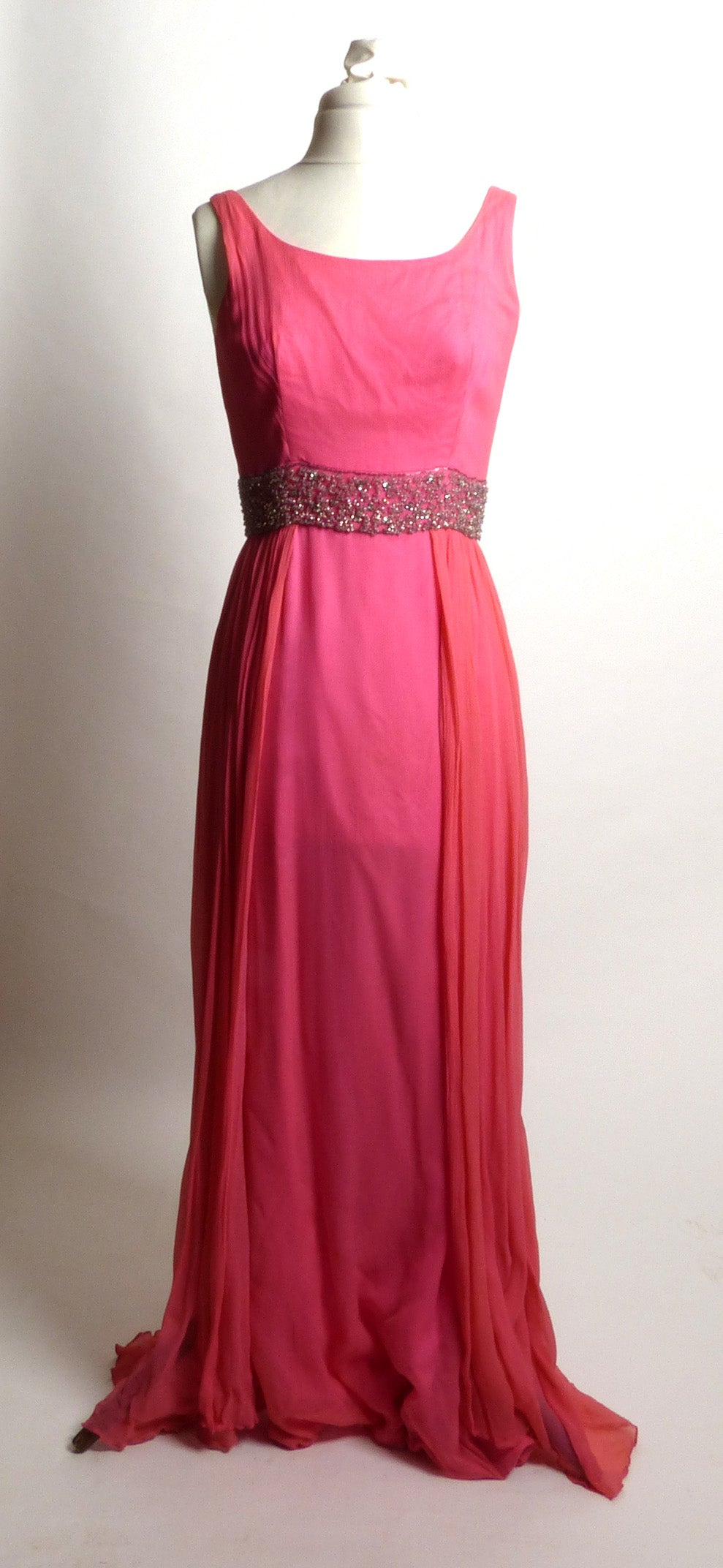 Circa 1960s Mardi Gras Pink Evening Gown with Rhinestone Waistline