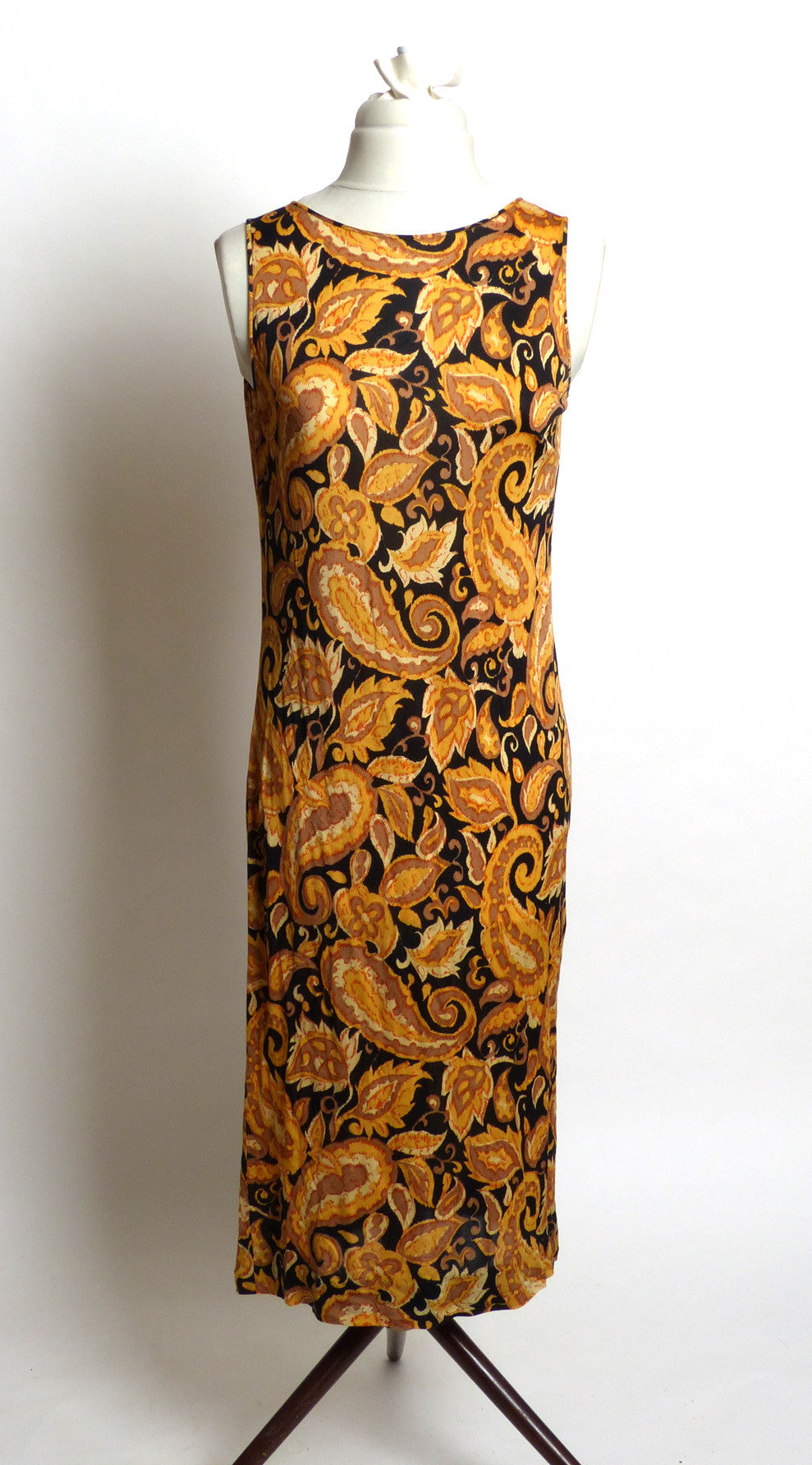 Circa 1960s Black and Gold Paisley Silk Jersey Dress