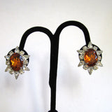 Circa 1950s Faux Topaz Rhinestone Earrings