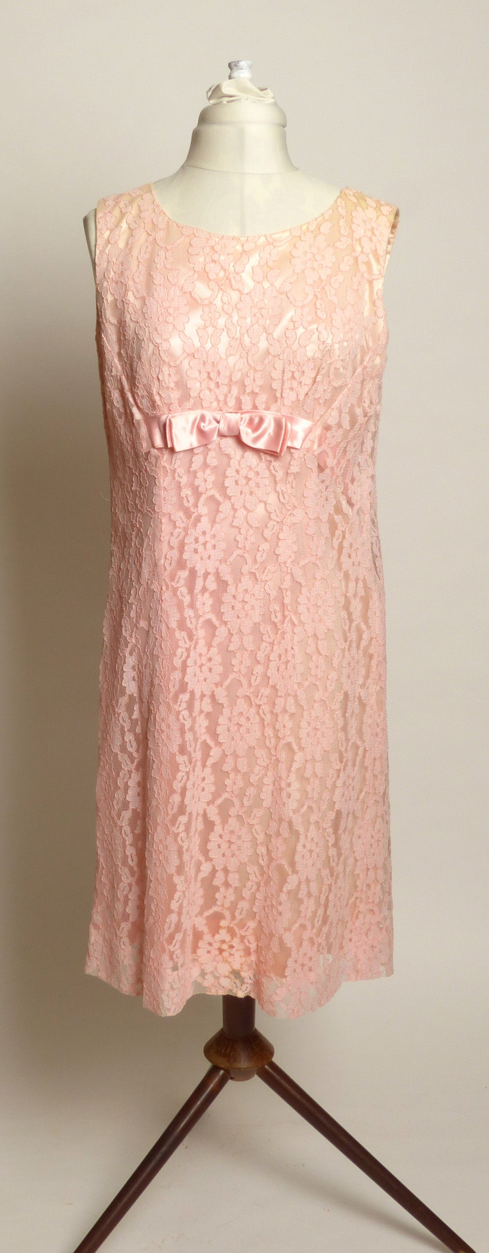 Circa 1960s Hand-made by Irene Pink Lace Dress with Satin Bow at Bodice